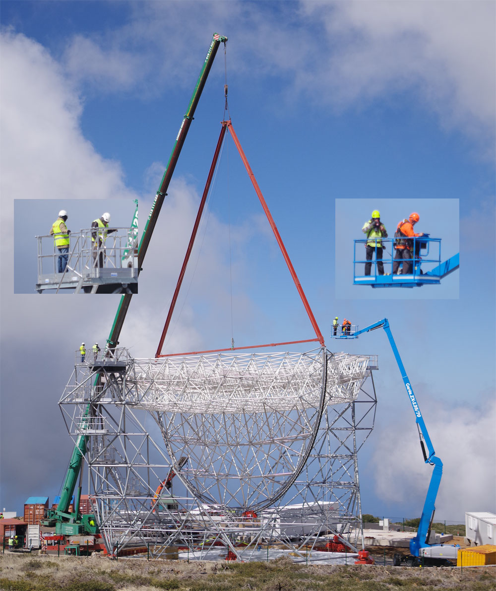 Fitting a counterweight to the LST, Feb 2018, Roque de Los Muchachos observatory, La Palma island