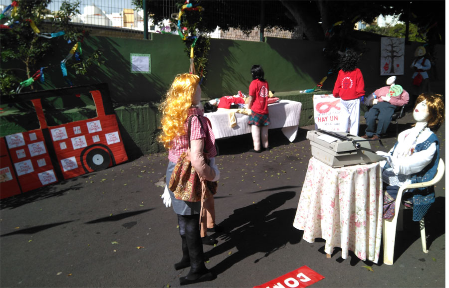 A mobile blood donation session with rag dolls for fiesta de la cruz, Santa Cruz de La Palma