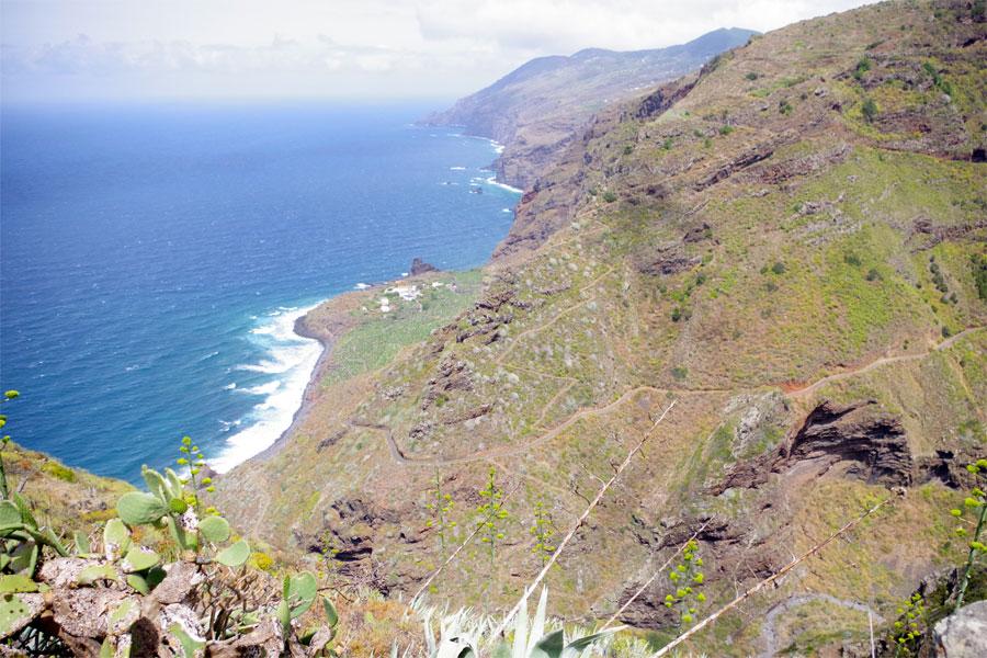 The dramatic coastline and a very steep footpath, El Tablado, Garafia, La Palma island