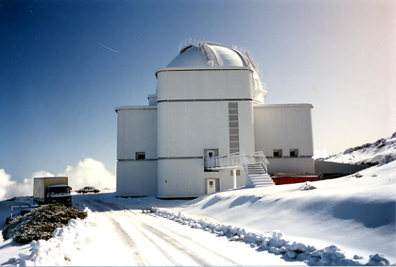 The Isaac Newton Telescope surrounded by snow