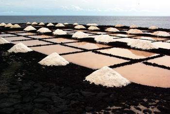 Sea salt being made in Fuencaliente, La Palma island