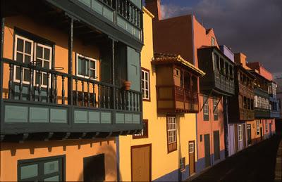 The famous sea-front balconies in Santa Cruz de la Palma