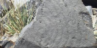 A spiral rock carving, Roque de los Muchachos, Garafia, La Palma