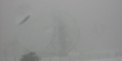 The MAGIC 1 telescope in the fog, Roque de Los Muchachos, La Palma island